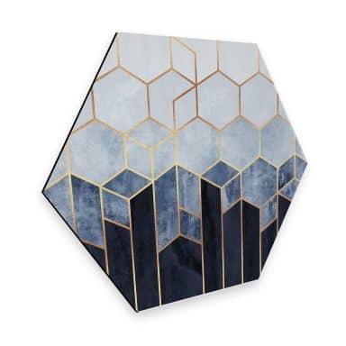 Hexagon - Alu-Dibond Fredriksson - Hexagone: Blau und weiß