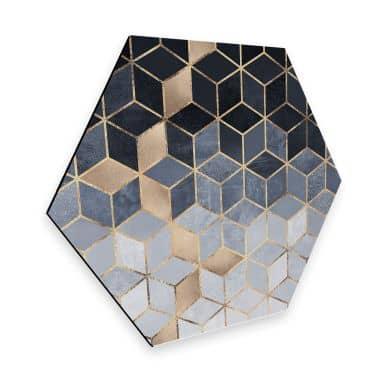 Hexagon - Alu-Dibond Fredriksson - Blaue Geometrie