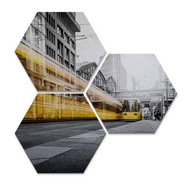 Hexagon - Alu-Dibond-Silbereffekt - Berlin Friedrichstrasse 02 (3er Set)