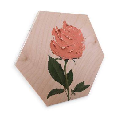 Hexagon - Holz Birke-Furnier - Fuentes - Rosenmalerei