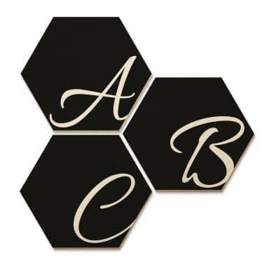 Hexagon Buchstaben - Holz Birke-Furnier - Schwarz