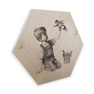 Hexagon - Holz Birke-Furnier Banksy - Real Hero