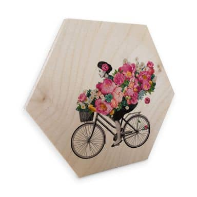 Hexagon - Holz Birke-Furnier Graves - Flora Bicycle