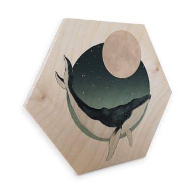 Hexagon - Holz Birke-Furnier Graves - Humpback