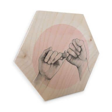 Hexagon - Holz Birke-Furnier Graves - Pinky swear
