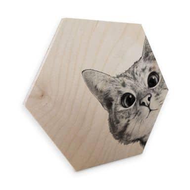 Hexagon - Holz Birke-Furnier Graves - Sneaky Cat