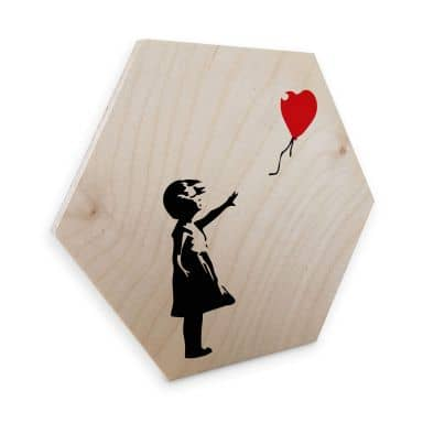 Hexagon - Holz Banksy - Girl with the red balloon