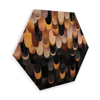 Hexagon - Holz Birke-Furnier Fredriksson - Federn aus Kupfer