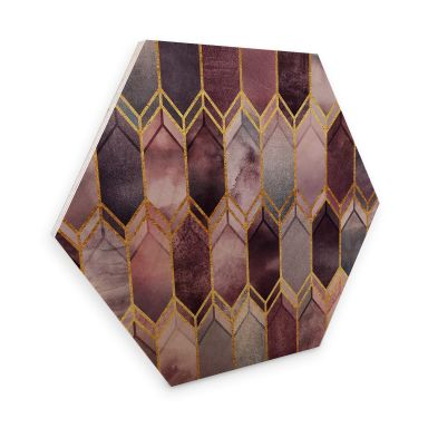 Hexagon - Holz Birke-Furnier Fredriksson - Glasmalerei: Rosé und Gold