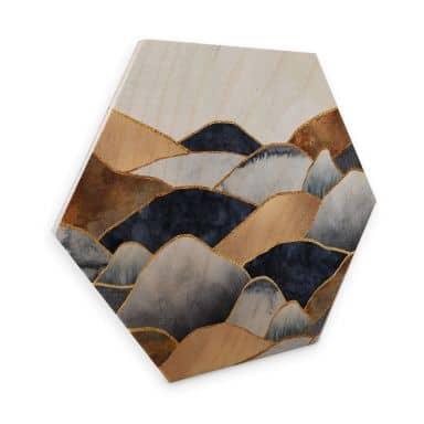 Hexagon - Holz Birke-Furnier Fredriksson - Goldene Hügel