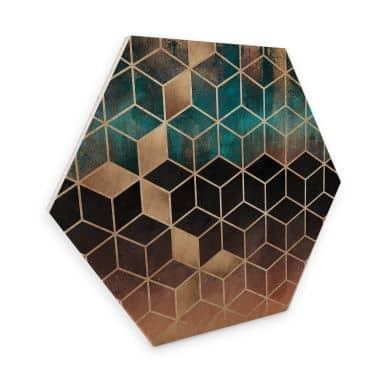Hexagon Hout Fredriksson - Goudgroene Geometrie