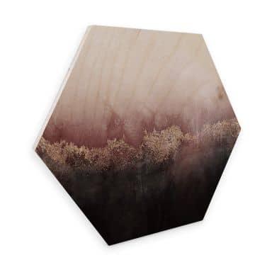 Hexagon - Holz Birke-Furnier Fredriksson - Rosa Himmel