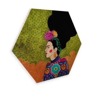 Hexagon - Holz Hülya - Frida im Portrait