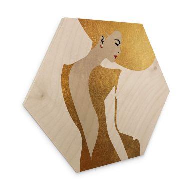 Hexagon - Holz Birke-Furnier Kubistika - Die Dame im goldenen Kleid