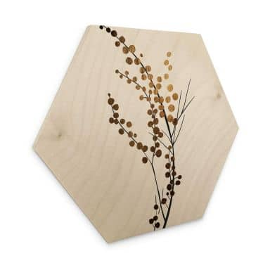 Hexagon - Holz Kubistika - Goldener Zweig