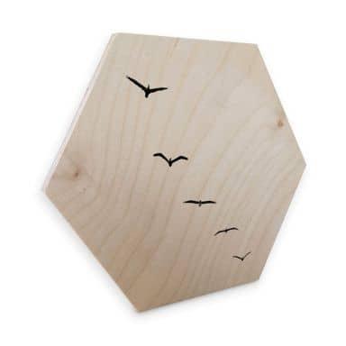 Hexagon - Holz Birke-Furnier Kubistika - Hoch am Himmel