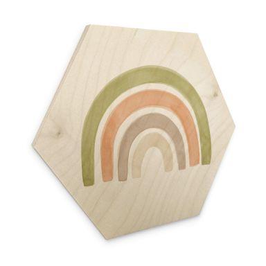 Hexagon Hout Nouveauprints - Aquarel Regenboog