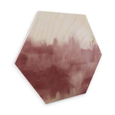 Hexagon - Holz Birke-Furnier Nouveauprints - Watercolour Brush Strokes (rosé)