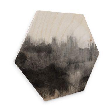 Hexagon - Holz Birke-Furnier Nouveauprints - Watercolour Brush Strokes (schwarz)