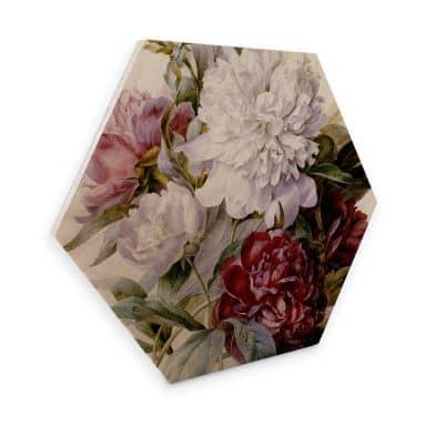Hexagon - Holz Redouté - Strauß von roten, lila und weißen Pfingstrosen