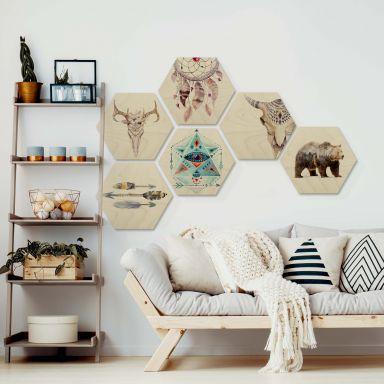 Hexagon-Set Holz Bohemian Kultur