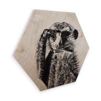 Hexagon - Holz Toetzke - Aufmerksames Erdmännchen
