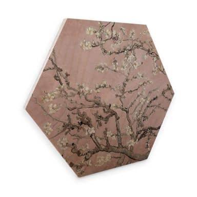 Hexagon Hout van Gogh - Amandelbloesem roze