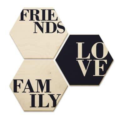 Hexagon - Birch Veneer Love, Friends, Family