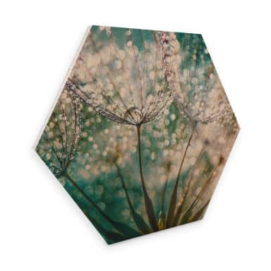 Hexagon Wood - Delgado - Glittery Dandelions