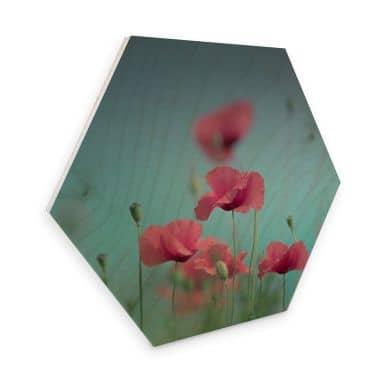 Hexagon - Holz Birke-Furnier Delgado – Mohnblumen Pastell