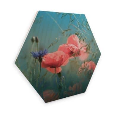 Hexagon - Holz Birke-Furnier Delgado - Wildblumen Aquamarin