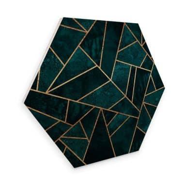 Hexagon - Holz Birke-Furnier Fredriksson - Blau-grüner Edelstein