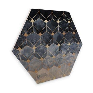 Hexagon - Holz Birke-Furnier Fredriksson - Hexagone: Blau und Gold