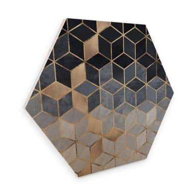 Hexagon - Holz Birke-Furnier Fredriksson - Blaue Geometrie