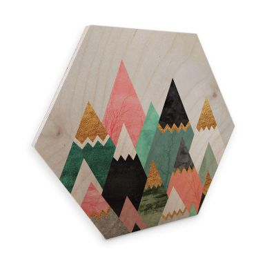 Hexagon - Holz Birke-Furnier Fredriksson - Bunte Berge