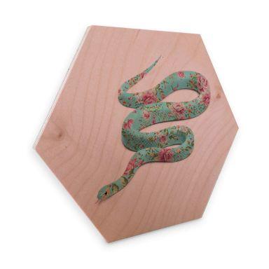 Hexagon - Holz Birke-Furnier Fuentes - Floral Snake