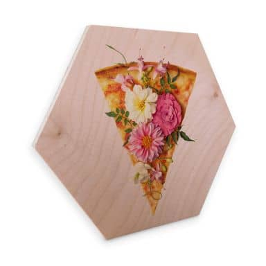 Hexagon - Holz Birke-Furnier - Fuentes - Pizza und Blumen
