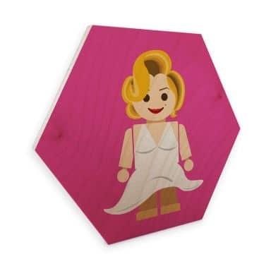 Hexagon - Holz Birke-Furnier Gomes - Marilyn Monroe Spielzeug