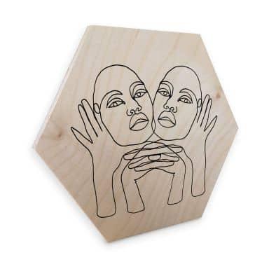 Hexagon - Holz Birke-Furnier Hariri - Phylli