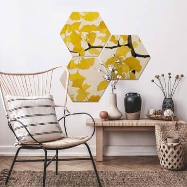 Hexagon - Holz Birke-Furnier - Kadam - Flora Ginko 3er Set