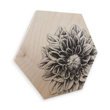 Hexagon - Holz Birke-Furnier Kools - Dahlia