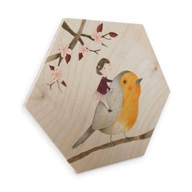 Hexagon - Holz Birke-Furnier Loske - Das Rotkehlchen