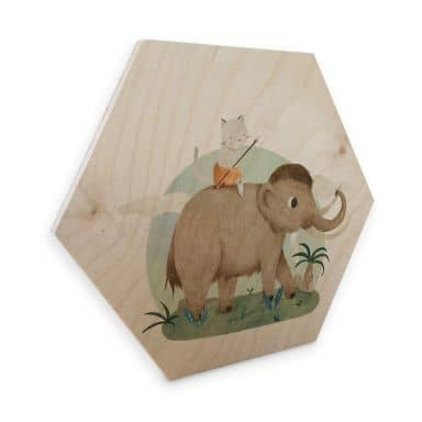 Hexagon - Holz Birke-Furnier Loske - In der Steinzeit