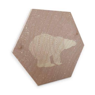 Hexagon - Holz Birke-Furnier Polarbär Weiß