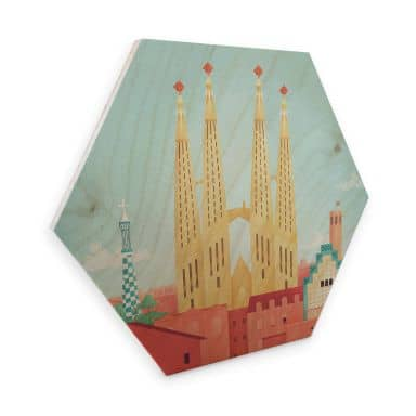 Hexagon - Holz Birke-Furnier Rivers - Barcelona