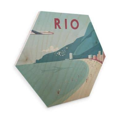 Hexagon - Holz Birke-Furnier Rivers - Rio de Janeiro