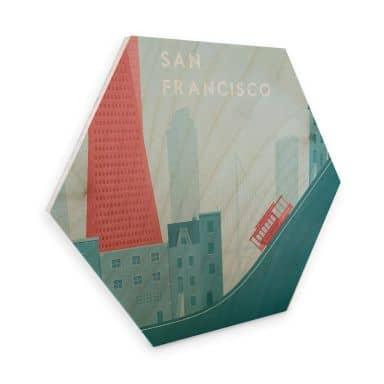 Hexagon - Holz Birke-Furnier Rivers - San Francisco