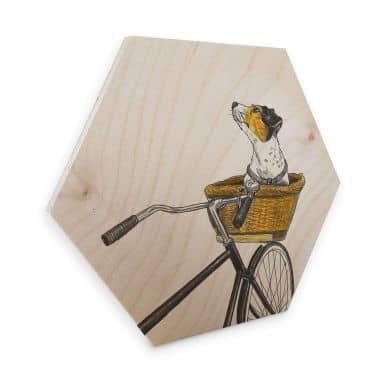 Hexagon - Holz Birke-Furnier Sparshott - Hund im Korb