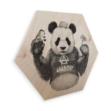 Hexagon - Holz Birke-Furnier Kools - Punk Panda
