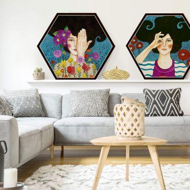 Hexagon-Set Holz Hülya - Augenblicke